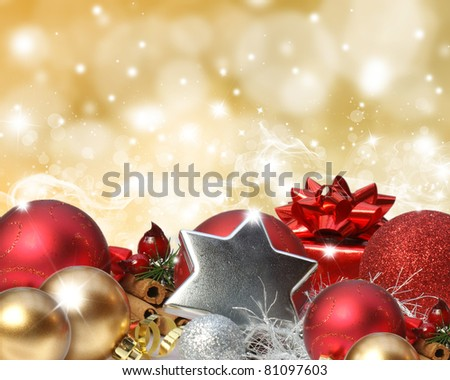 Colourful background with stars and bokeh lights effect and Christmas decorations - stock photo