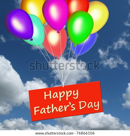 Colourful balloons floating in the sky with Happy Father's Day on a card - stock photo