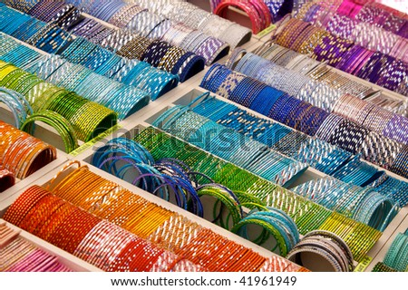 colourful bangles on a market stall - stock photo