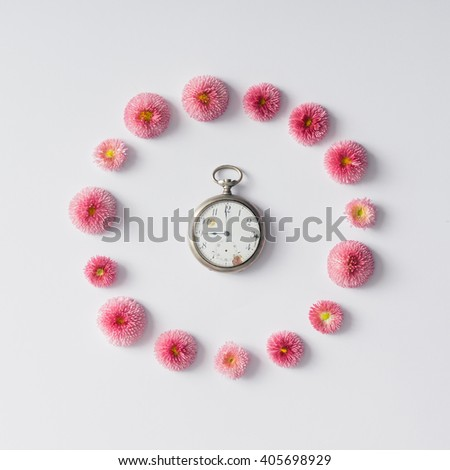 Colourful bright layout made of natural daisy flowers with coffee cup. - stock photo