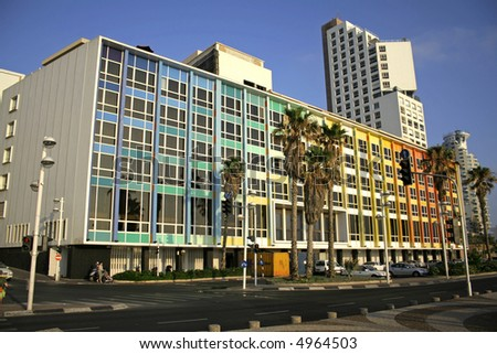 colourful building, tel aviv seafront, israel - stock photo
