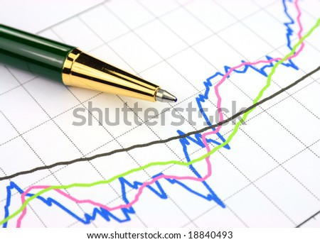 Colourful business chart and pen - stock photo