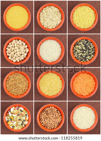 Colourful cereals and legumes collage. Top view of dry lentils, millet, oats, rice, buckwheat, chickpeas and durum wheat pasta in a round red bowl - stock photo