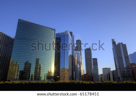 Colourful Chicago Downtown at Sunset - stock photo