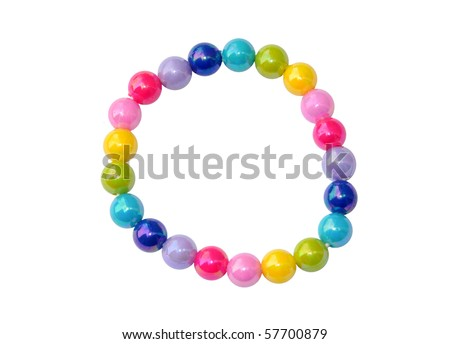 Colourful child's bead bracelet, isolated on a white background - stock photo