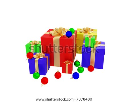 Colourful christmas decoration on a white background.  Work patch from selection. 3d illustration over white backgrounds.