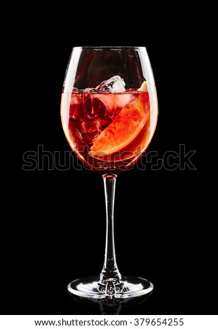 Colourful cocktail on the black background
