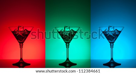 colourful coctail on the differend backgrounds - stock photo