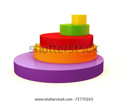 colourful 3d pie chart isolated over white - stock photo