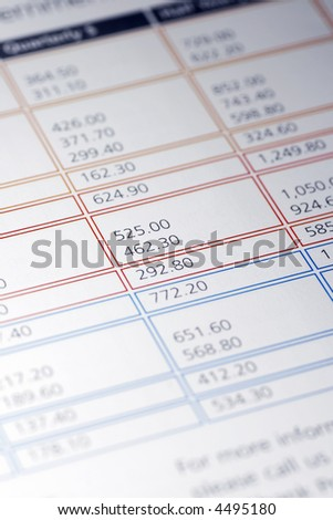 Colourful Data Table Of Financial Figures, Insurance Premiums, Payments - stock photo
