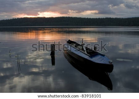 Colourful decline on lake. - stock photo