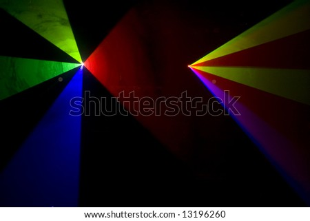 Colourful disco lighting is bright the stage
