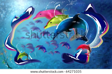 Colourful Dolphins in the sea. Digital Illustration with 3D effect. - stock photo