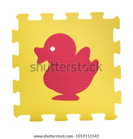 Colourful duck puzzle. Animal puzzle piece isolated on white background. Animal learning block for children education.