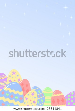 colourful Easter eggs on blue gradient background - stock photo