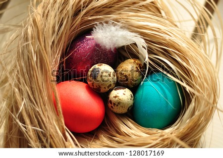 Colourful eggs in a nest
