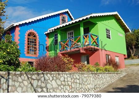 Colourful exotic church on Union Island - stock photo