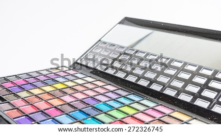 Colourful eye shadow tool and brush make up set. Slightly defocused and close-up shot. Concept of colour palette. Copy space. - stock photo