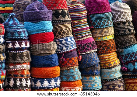 Colourful fez market stall in the Marrakech souk - stock photo