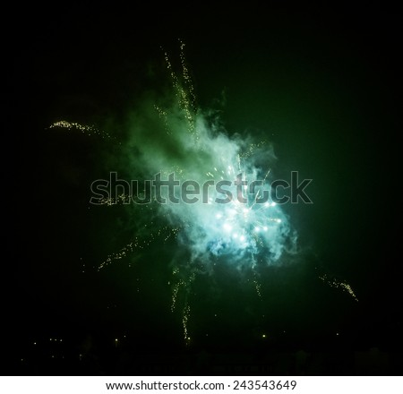 colourful fireworks explosion on a black background - stock photo