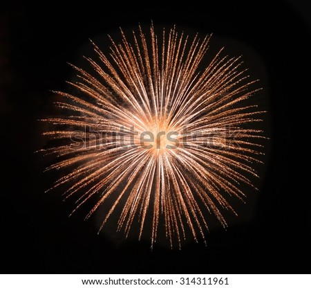 Colourful fireworks isolated in dark background close up with the place for text, Malta fireworks festival, 4 of July, Independence day, New Year, explode. Maltese shell - stock photo