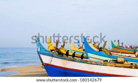 Colourful Fishing Boats, Kerala, India - stock photo