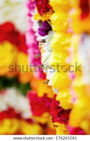 Colourful flower garlands in Singapore's Little India. - stock photo