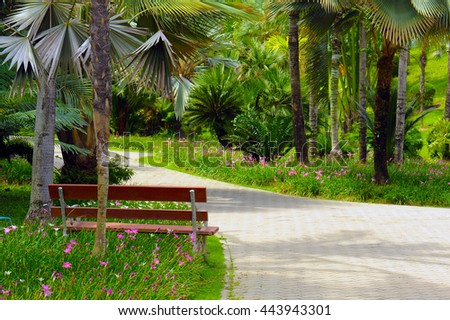 Colourful Flowers in the garden with chair - stock photo