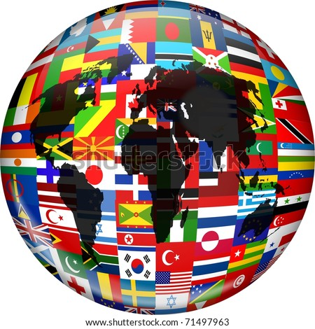 Colourful globe illustration made up of flags from all over the world and incorporating a world map. - stock photo