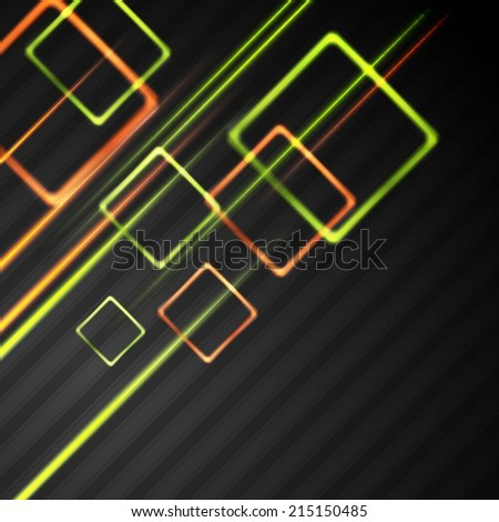 Colourful glowing squares on the black background