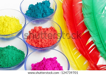 Colourful gulal - stock photo