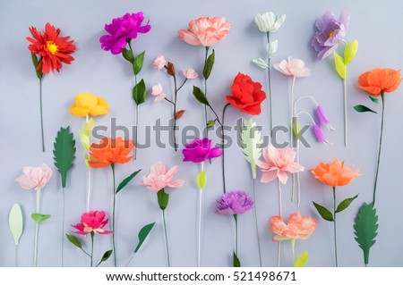 Colourful handmade paper flowers on light stock photo 521498671 colourful handmade paper flowers on light blue background mightylinksfo Gallery