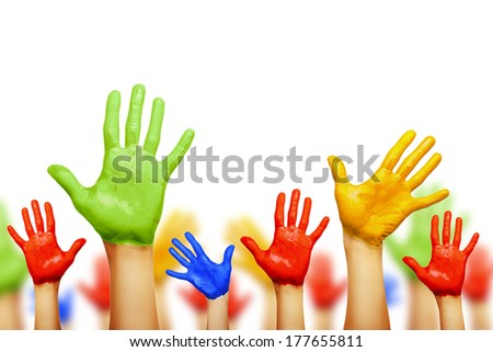 Colourful hands isolated on white - stock photo