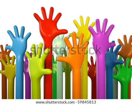 Colourful hands isolated on white background 3D rendering - stock photo