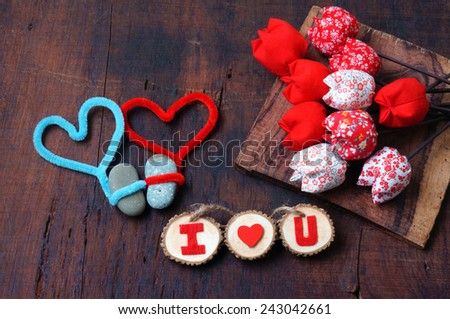 Colourful, harmony Valentine background, amazing style, handmade flower, I love you message on wooden, red color, Valentine day on Feb 14 is the day for couple, they give lovely gift for lover - stock photo