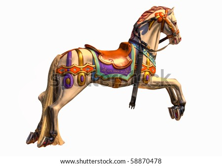 Colourful HDR photo of horse on Merry-go-round - stock photo