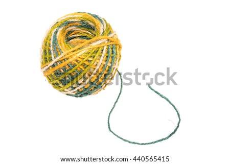Colourful Hemp string rope isolated on white background - stock photo