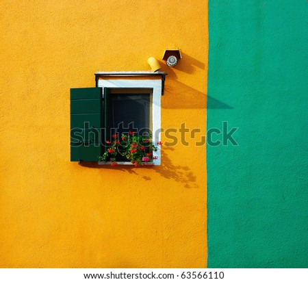 Colourful houses of Burano. Italy - stock photo