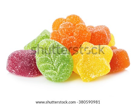 Colourful jelly candies close-up isolated on white background. - stock photo