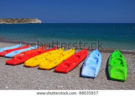 Colourful kayaks on Kolymbia beach, Rhodes island - stock photo
