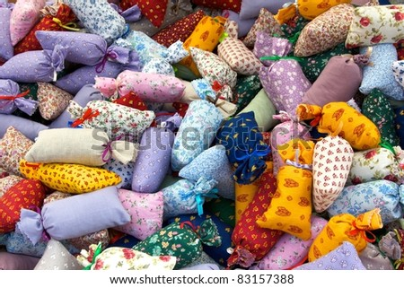 Colourful lavender bags at a french market