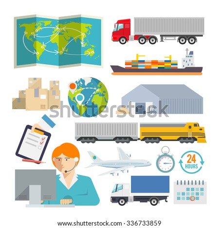 Colourful logistics icon set for your business, web sites, presentations, advertising etc. Quality design illustrations, elements and concept. Flat style. - stock photo