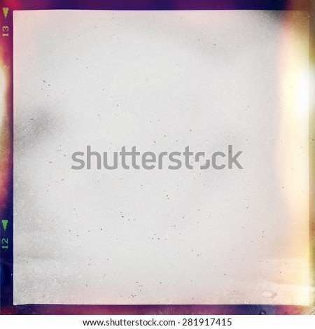 colourful medium format film background with grain and light leak - stock photo