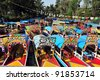 Colourful Mexican gondolas at Xochimilco's Floating Gardens in Mexico City. - stock photo