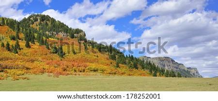 colourful mountains of Colorado during foliage season - stock photo