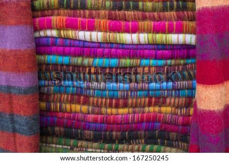 Colourful Nepalese Yak Wool Blankets in Namche Bazaar - stock photo