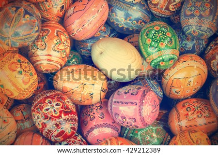 Colourful painted Easter eggs, background. Toned - stock photo