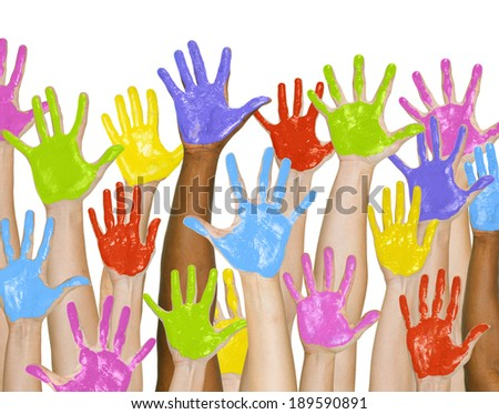 Colourful Painted Hands Raised