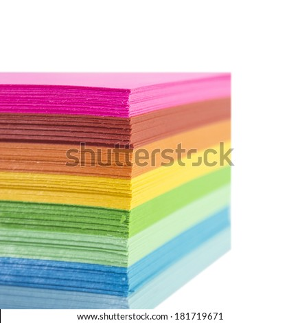 Colourful Paper isolated on white. - stock photo