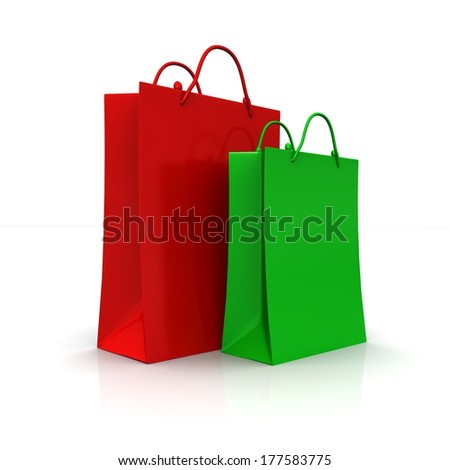 Colourful paper shopping bags isolated on white for advertising and branding